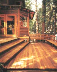 Refinished redwood deck
