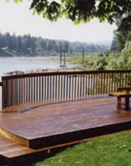 Redwood deck with a water-repellent surface
